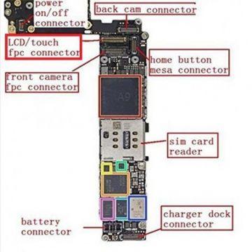 Connecteur FPC LCD+Tactile sur Carte Mere pour iPhone 6s